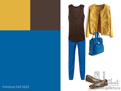 Сочетание Олимпийского синего с жженым коричневым и медово-золотистым