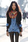 джинсовая рубашка с шарфом
