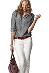 джинсовая рубашка в сочетании с низом из денима другого оттенка
