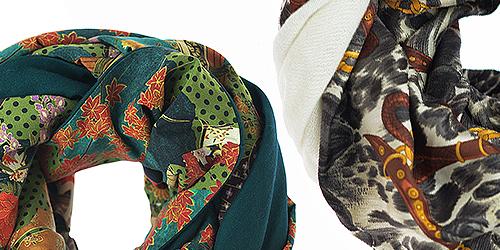 шарфы комбинированные Unikat: шелк и шерсть