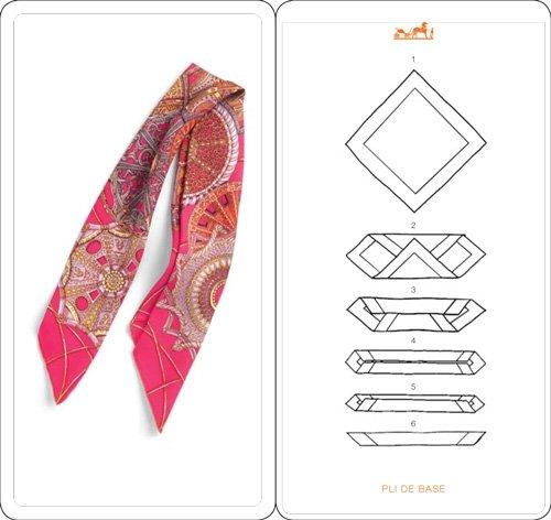 как сложить платок в ленту - карточка Hermes