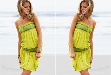 девушка в летней одежде - с браслетами и без