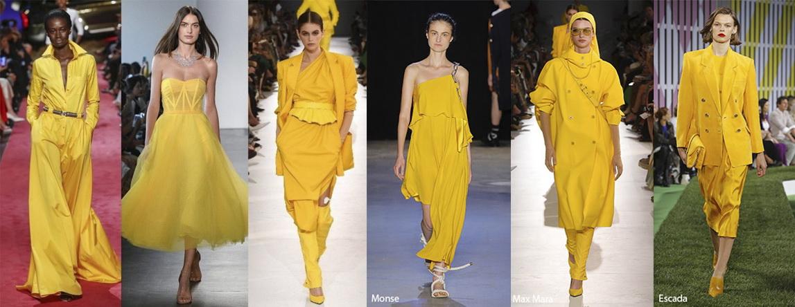 Примеры одежды в цвете Aspen Gold (золотая осина) Лето 2019