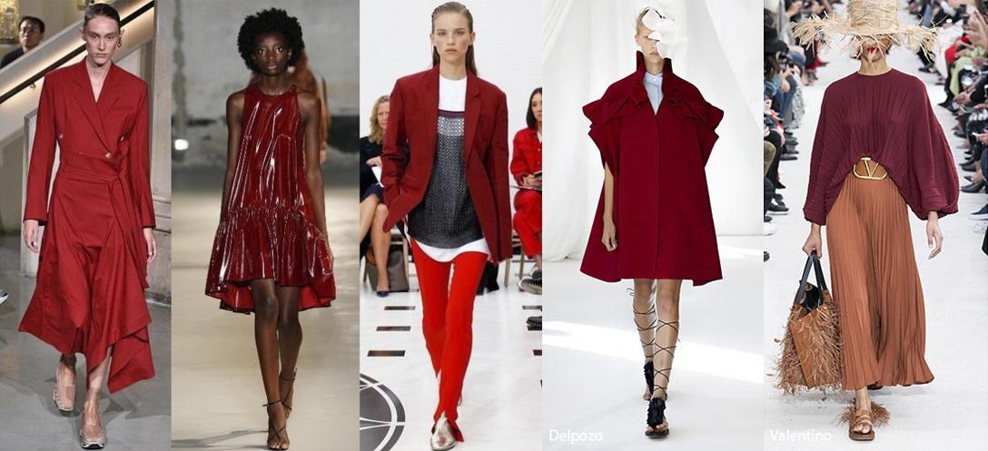 Примеры одежды в цвете Jester Red (шутовской красный) Лето 2019