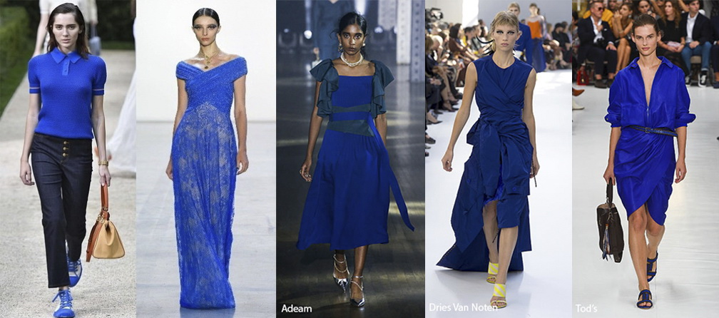 Примеры одежды в цвете Princess Blue (принцессин синий) Лето 2019
