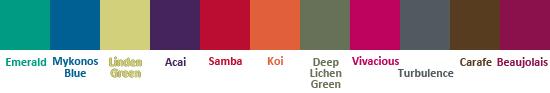 палитра Pantone осень-зима 2013: Изумрудный, Миконос Синий, Зеленая липа, Ягода Асаи, самба, Оранжевый карп, Глубокий зеленый лишайник, Живой розовый, турбулентность, Кофейный, Божоле