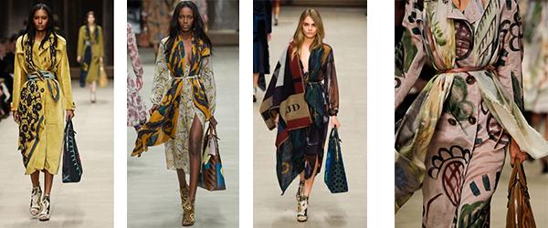 платки и шарфы, перехваченные ремнем в коллекции Burberry Prorsum FW 2014