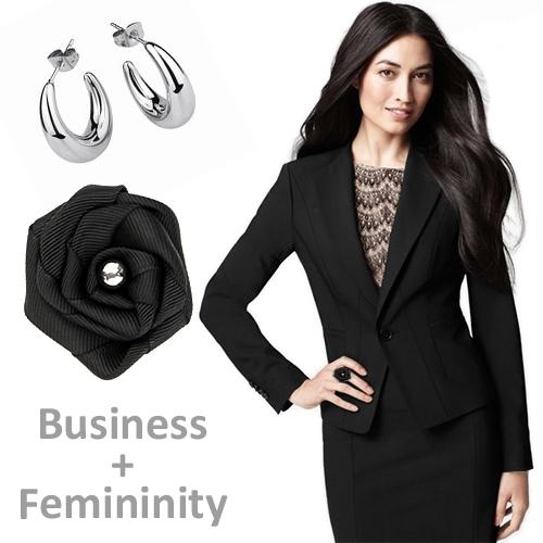 женственные украшения к деловому костюму
