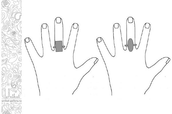 кольца с декоративным элементом на руке с пухлыми пальцами
