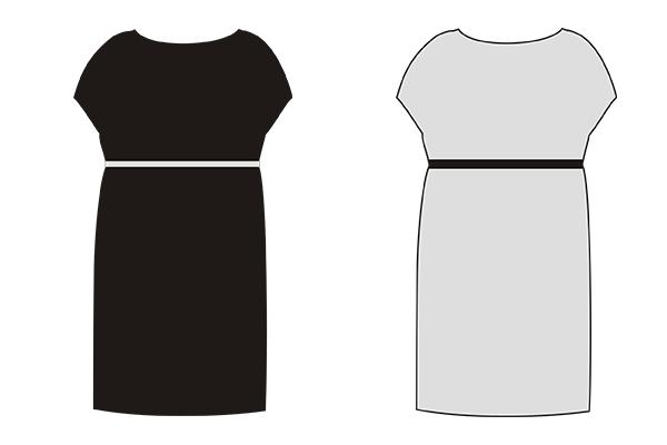 темное платье смотрится менее объемно, чем такое же светлое