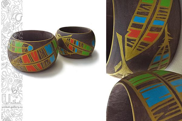 крупные деревянные браслеты с росписью Unikat