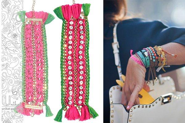 плетеный френдшип-браслет с цепочками и стразами Unikat