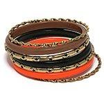 Набор браслетов *Коричневый, оранжевый, черный*