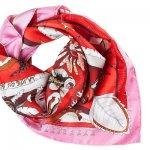 Шелковый платок каре красный с белым *Алеут*