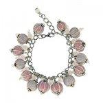 Браслет со стеклянными бусинами *Нежный розовый и серый*