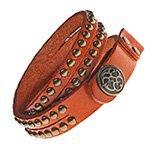 оранжевый кожаный браслет